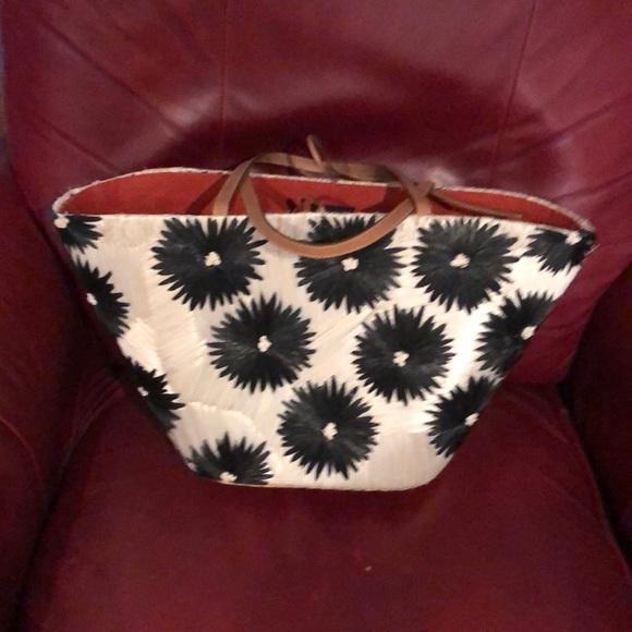 kate spade Handbags - Kate Spade Limited KS Cream and Black Straw Tote